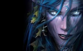 Picture eyes, girl, face, hair, Shine, earring, Night Elf, black background, Warcraft 3, military craft, Warcraft …