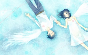 Picture girl, love, heart, wings, art, hearts, guy, momoiro oji