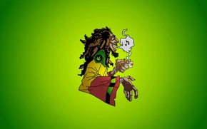 Picture music, smoke, Bob Marley, Jamaica, marijuana, reggae, dreadlocks, caricature, ska, rocksteady