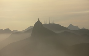 Picture mountains, fog, Brazil