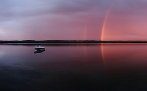 Wallpaper rainbow, lake, boat, The evening