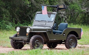 Picture grass, trees, background, flag, green, the front, machine gun, 1950, Jeep, Willys, Willis, M38, Jeep.SUV