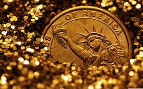 Picture gold, Statue of Liberty, currency