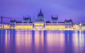 Picture river, the evening, architecture, illumination, Budapest, Budapest, the Parliament building