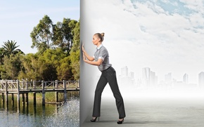 Picture greens, girl, bridge, nature, the city, river, creative, blonde, shoes, choice, hairstyle, pants
