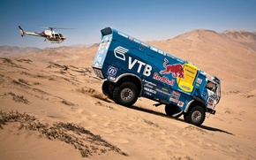 Picture Sand, Auto, Blue, Machine, Helicopter, Red Bull, KAMAZ, Rally, KAMAZ, Dakar, Dakar, Side view, Dune, …