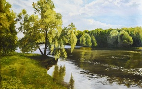 Picture the sky, clouds, trees, landscape, river, shore, picture, painting, ROS, Sergey Lutsenko