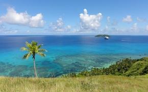 Picture the ocean, shore, view, ship, island, horizon, exotic
