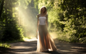 Picture road, girl, light, mood