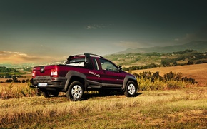 Picture the sky, grass, photo, car, 2012, Fiat, Strada