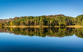Picture the sky, trees, blue, lake, house, reflection, mirror