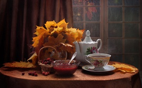 Picture leaves, berries, table, kettle, window, the tea party, Cup, dishes, still life, blind, basket, jam