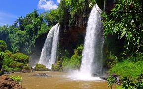 Picture water, stones, waterfall, nature, Argentina, Argentina, Iguazu, trees., Iguazu