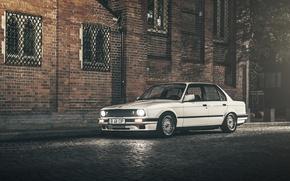 Picture street, the building, BMW, white, E30, Sedan, 3 Series