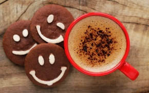 Picture coffee, chocolate, Cup, smiley, cup, chocolate, beans, coffee, cookies