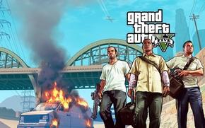 Picture bridge, the bandits, van, Michael, Michael, the robbers, Grand Theft Auto V, gta5, Franklin, Los …