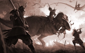 Picture dinosaur, sword, katana, art, lizard, battle, Samurai, pterodactyl, arvalis, T-Rex