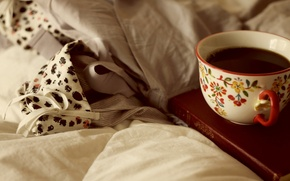Picture Wallpaper, coffee, Cup, bed, book