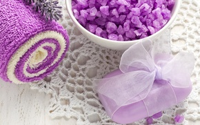 Picture flowers, soap, salt, Cup, lavender, Spa, towel, lavender, natural, soap, relax, spa, bath salt