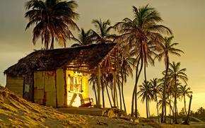 Wallpaper sand, sea, beach, sunset, palm trees, shore, beach, sea, sunset, sand, shore, paradise, tropical