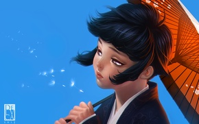 Wallpaper the sky, girl, umbrella, dandelion, the wind, umbrella, art, Naruto, the parachutes, Hyuuga, Hinata, Antonio ...