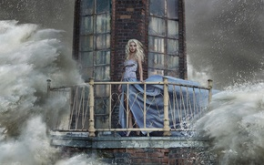 Picture wave, water, girl, squirt, storm, lighthouse, dress, blonde