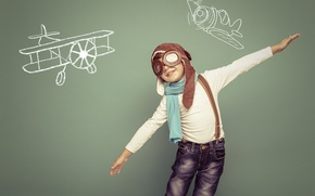 Picture dream, hat, boy, glasses, drawings, child, aircraft, pilot