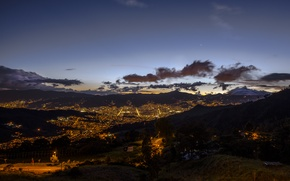Wallpaper night, the city, lights, panorama, Colombia, Medellin