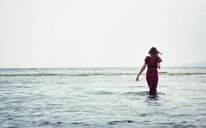 Picture sea, water, girl, river, background, the wind, widescreen, Wallpaper, mood, horizon, wallpaper, girl, sea, widescreen, …