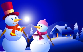 Picture winter, night, new year, Christmas, vector, house, snowman
