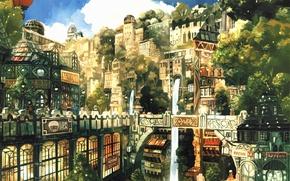 Picture trees, the city, street, Windows, ball, home, air, signs, Art, Imperial Boy (Teikaku Shounen)