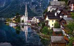Wallpaper mountains, lake, home, Austria, Alps, Austria, Hallstatt, Alps, Lake Hallstatt, Hallstatt, Lake Hallstatt