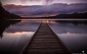 Picture clouds, lake, morning, Oregon, pierce, USA, Lodge et Suttle lake