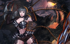 Picture girl, weapons, dragon, art, chain