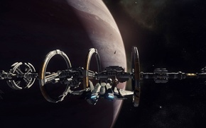 Picture spaceship, docking, starship, station, planet, stars