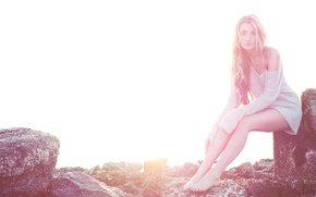 Picture girl, light, stones, sitting, sweater, Kristina