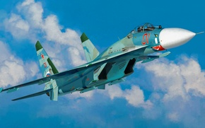 Picture war, art, airplane, painting, aviation, Sukhoi Su-27
