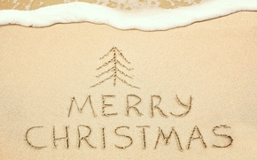 Picture sand, sea, beach, Christmas, sand, Merry