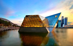 Picture the city, shore, building, skyscrapers, Singapore, architecture, Louis Vuitton, skyscrapers, Singapore, North Pavilion, Marina Bay ...
