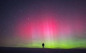 Picture stars, man, northern lights, aurora borealis