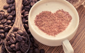 Picture foam, heart, coffee, chocolate, spoon, heart, cappuccino