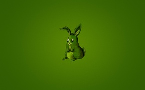 Picture animal, green, hare, minimalism, rabbit, green background, rabbit