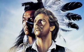 Wallpaper actors, characters, Graham Greene, Dances with Wolves, painting, John Dunbar, Kicking Bird, figure, Western, adventure, ...