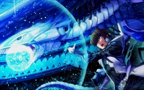 Picture magic, dragon, anime, art, guy, Yu-Gi-Oh!