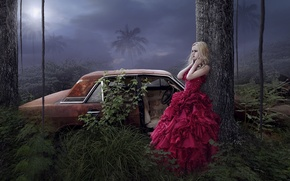 Picture palm trees, girl, art, fantasy, trees, car, dress