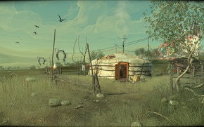 Picture the sky, birds, game, Mongolia, Yurt, indie, adventure, Cradle, Flying Cafe for Semianimals