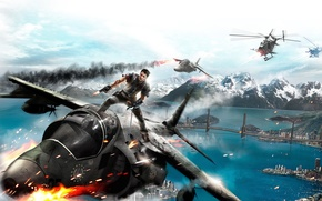 Picture fire, Game wallpaper, jump, just cause 2