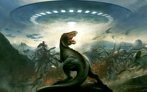 Picture aliens, extinction, dinosaurs