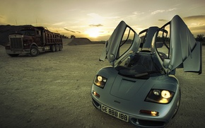 Picture auto, lights, the evening, room, door, truck