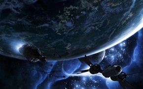 Wallpaper space, planet, ship, satellite, escape velocity